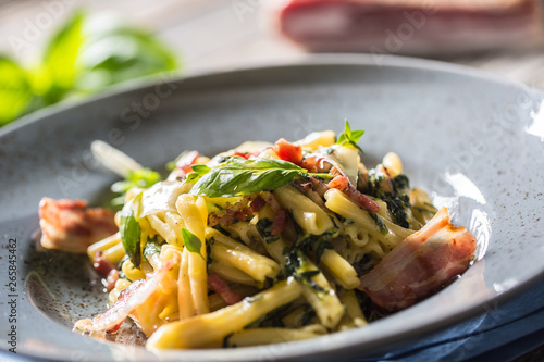 Papiers peints Londres Pasta casarecce with bacon pancetta parmesan cheese and herbs basil. Italian or mediterranean cuisine.