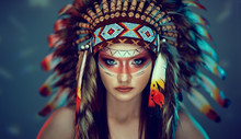 Young Girl In Costume Native A...
