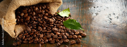 Panorama banner of fresh roasted coffee beans - 265854630