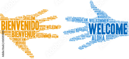 International Welcome Word Cloud on a white background.