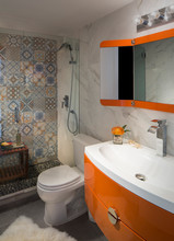 Bathroom Orange Accents