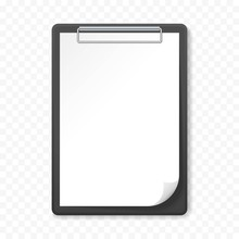 Black Clipboard With White Sheet On Transparent Background. Template Design Blank Mock Up. Concept For Education, Business, Planning Or Infographics.