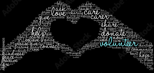 Tablou Canvas Volunteer Word Cloud on a black background.