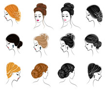 Long Braids Creative Brown Hair, Isolated On White Background. Hairstyles Of A Woman. Set Of Vector Illustrations