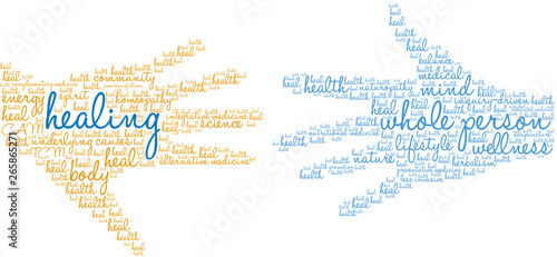 Healing Word Cloud on a white background. Canvas