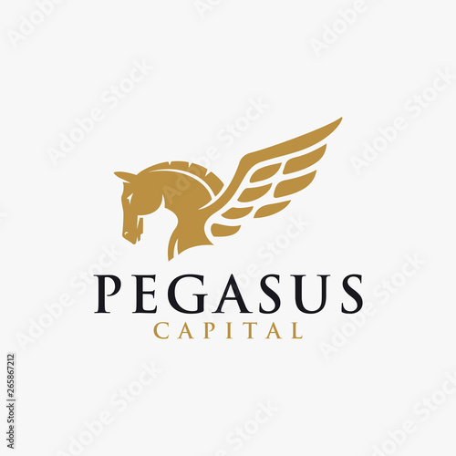 Fotografía Powerful elegance pegasus logo vector illustration template on white background