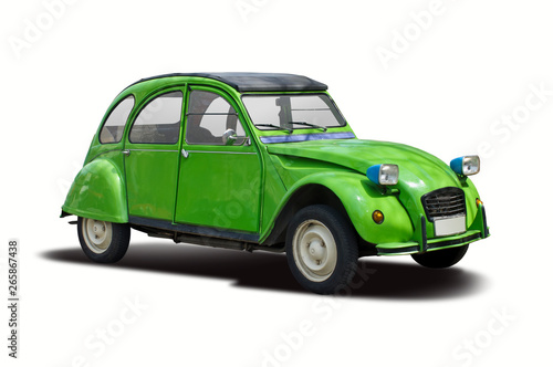 Fototapeta French classic car side view isolated on white obraz