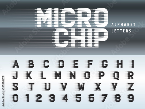 Vector of Futuristic Alphabet Letters and numbers, Microchip