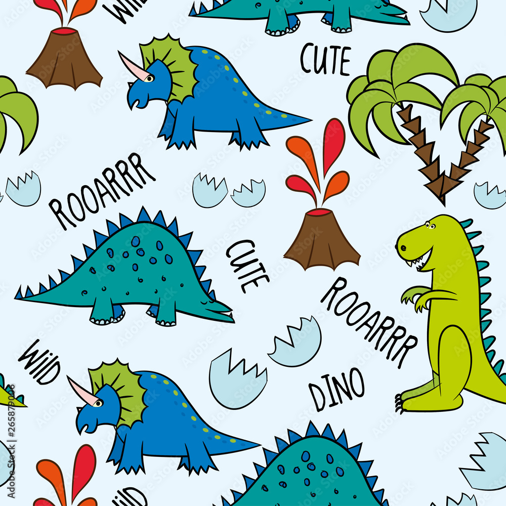 Diono friends. Funny cartoon dinosaurs, bones, and eggs. Cute t rex, characters. Hand drawn vector doodle set for kids. Good for textiles, nursery, wallpapers, wrapping paper, clothes. - Vector