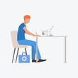 Lab assistant writing at table with microscope and beakers. Test tube, laboratory, paramedic. Medicine concept. Vector illustration can be used for topics like hospital or clinic