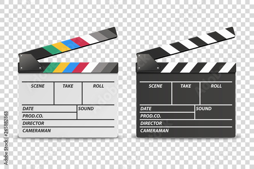 Fotografia Vector 3d Realistic Opened White and Black Movie Film Clap Board Icon Set Closeup Isolated on Transparent Background