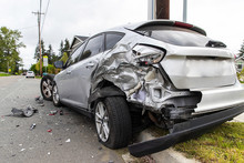 View From Behind Of A Car Crash