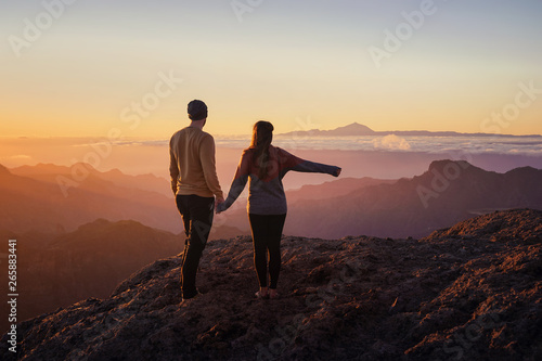 young couple from behind holding hands while standing on mountain top with sceni Wallpaper Mural