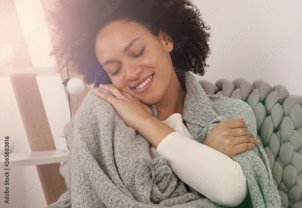 Fototapety, obrazy: Touch of softness.Young woman enjoying softness of her cozy knitted sweater