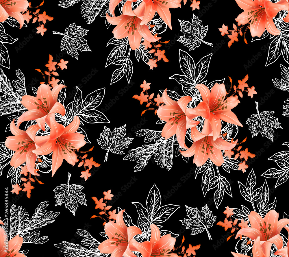 seampless pattern with wild flowers and leaves