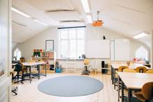 Interior Of Empty Classroom In Elementary School