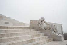 Statue And Stairway At The Canadian World War One Memorial, Vimy Ridge National Historic Site Of Canada,Pas-de-Calais, France.