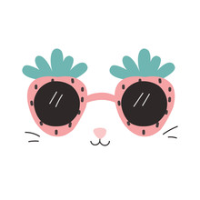 Funny Print With Strawberry Sunglasses And Cat Face. Summer Fashion Graphic. Vector Hand Drawn Illustration.