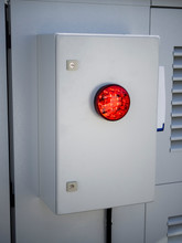 Intruder Siren On Security Box. Installed And Connected To The Security System With Wires. Bright Red LED Flashlight And Loud External Sounder. Outdoor Guard. Concept Of Personal Or Object Security.
