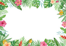 Watercolor Frame Tropical Leaves And Flowers On White Background.