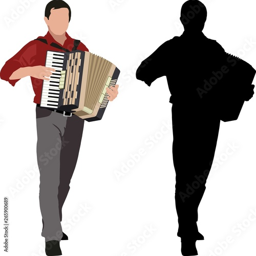 Fényképezés  silhouette of accordionist and clip art illustration