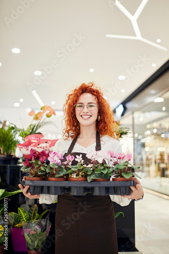 Portrait of smiling florist holding tray of potted plants in flower shop