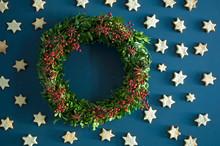 Self-made Advent Wreath, Boxwood Twigs, Rosehip, Star Anise, Shortbread