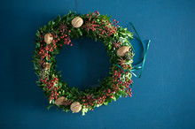 Self-made Advent Wreath, Box Twigs, Rosehip, Star Anise, Walnuts And Almonds