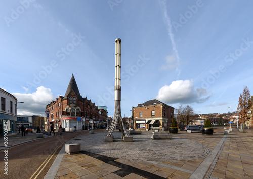 The town centre of Blackburn, Lancashire, England. - fototapety na wymiar