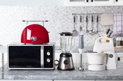 Home Appliance On Kitchen Worktop Canvas Print