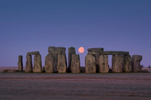 Europe; UK, England, Wiltshire, Stonehenge Winter Moon