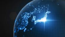 Power Of Japan, Energy Beam On Tokyo. Dark Globe With Illuminated Cities And Human Density Areas. 3d Illustration