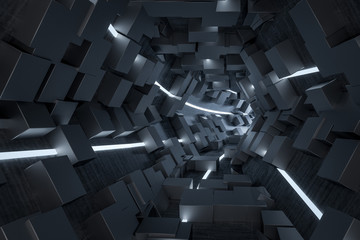 3d rendering, dark science-fiction tunnel, dark background