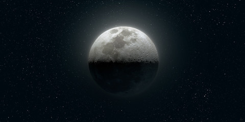 Highly Detailed Shot of Moon against Dark Night Sky