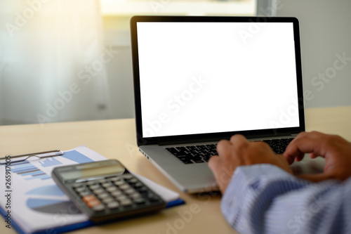 Fotomural  man Hands typing on computer laptop desktop with female hands working on modern