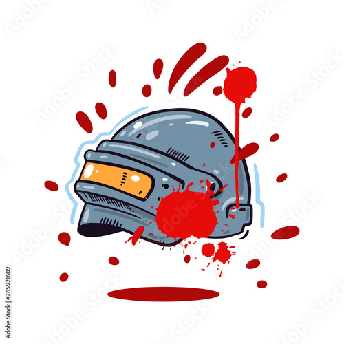 Photo  Helmet with PUBG game hand drawn vector illustration