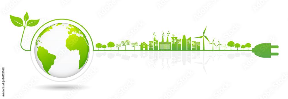 Fototapeta Banner design elements for sustainable energy development,