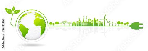 Foto Banner design elements for sustainable energy development,