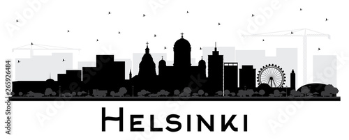 Fotografia, Obraz Helsinki Finland City Skyline Silhouette with Black Buildings Isolated on White
