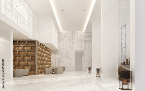 Photo Mainhall double space interior Sino-Portuguese style with marble floor and armchair set & wooden built-in
