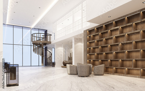 Fototapeta  Mainhall double space interior Sino-Portuguese style with marble floor and armchair set & wooden built-in