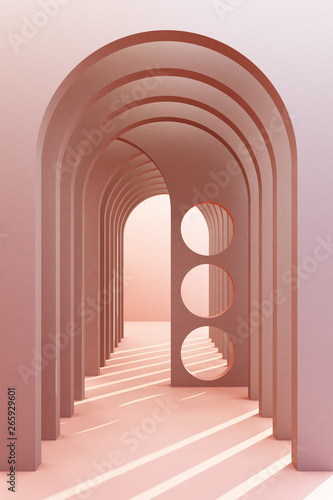 Photo Minimalistic,pink color arch hallway architectural corridor with empty wall