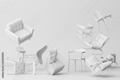 Fototapeta White chairs in empty white background. Concept of minimalism & installation art. 3d rendering mock up obraz