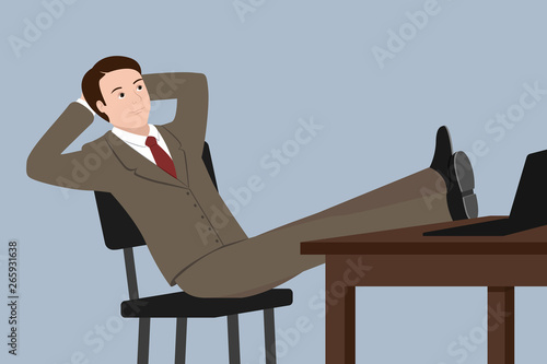 Valokuva Caucasian man sitting with legs on table. Vector illustration.