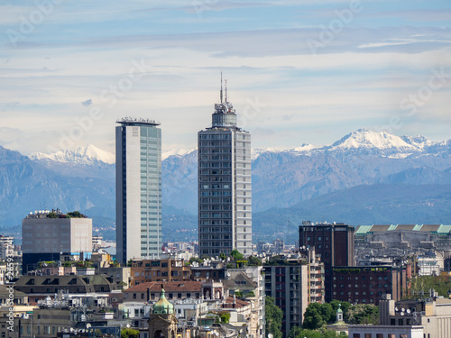 Spoed Fotobehang Milan Milano, Italy. Panorama of the city and the skyscraper from the roof terrace of the cathedral, Duomo of Milano