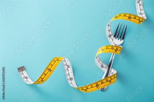 Diet concept on blue background