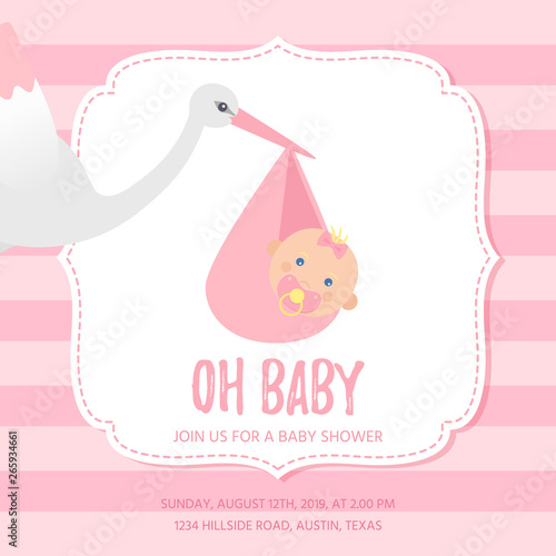 Baby Shower Invitation Card Vector Baby Girl Banner Welcome Template Invite Cute Birth Party Background Happy Greeting Holiday Poster With Newborn Kid Pink Design Cartoon Flat Illustration Buy This Stock Vector
