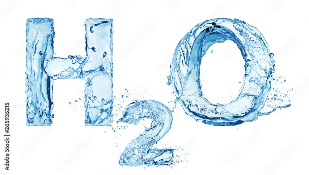 Fototapeta H2O water alfabet isolated on white background