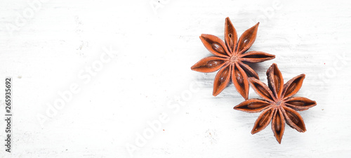 Photo Anise. Spices Top view. free space for your text.