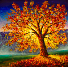 Original Oil Painting On Canvas Art. Sunny Autumn Tree. Modern Impressionism. Autumn Gold Yellow Orange Red Tree In Sun Light Landscape Expressionism Artwork Oil Acrylic Painting